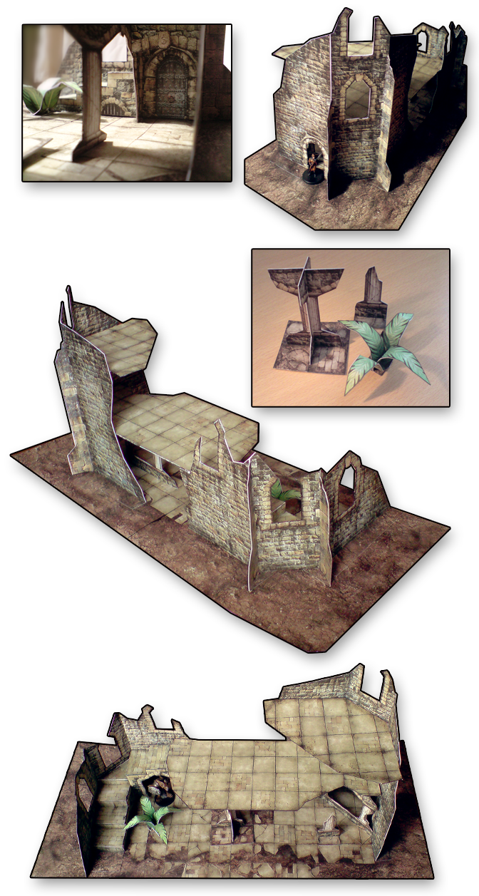 Forgotten ruin paper model Lord Zsezse Works