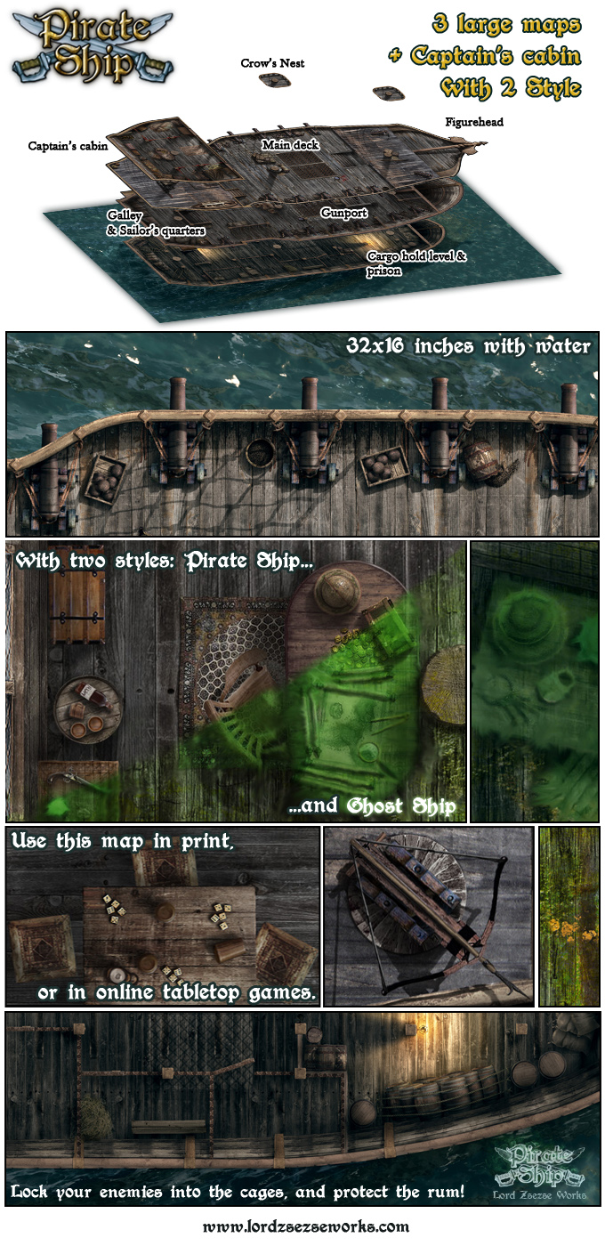 Pirate ship map sample from Lord Zsezse Works